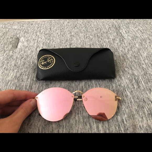 b572fe5c143b8 Ray Ban blaze round gold with pink mirror